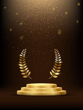 Golden three step podium with laurel wreath under falling gold glitter isolated on dark background. Vector illustration. Vettoriali