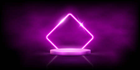 Glowing neon pink rhombus with sparkles in fog on round podium. Abstract electric light frame on black background. Geometric fashion design vector illustration. Empty minimal art decoration Vettoriali
