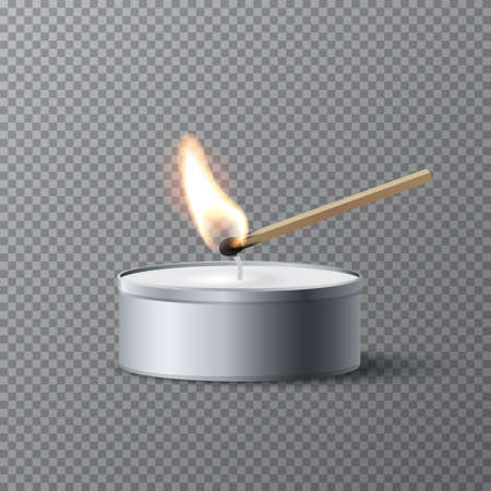 Match igniting tea candle wick. Wooden match burning, grey round candle with wax. Abstract realistic vector illustration. Candlelight on tea candle on transparent background