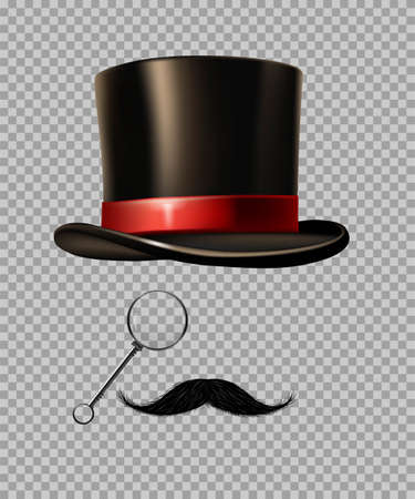 British gentleman vintage head elements set. Black tophat, glasses, moustache on transparent background. Realistic retro male fashion style vector illustration. Classis accessories