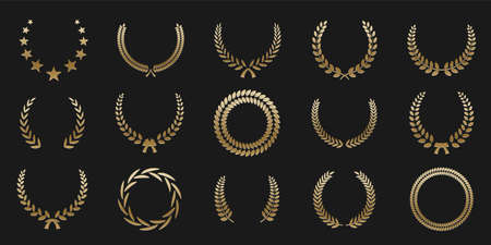 Golden laurel wreaths on black background. Set of foliate award wreath for championship or cinema festival. Vector illustration.