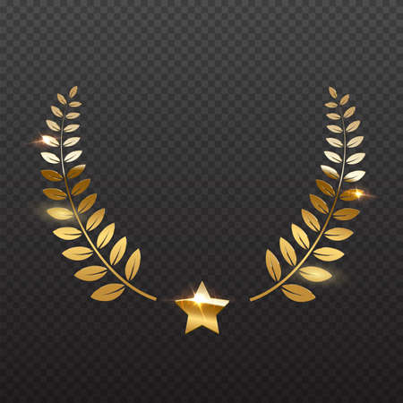 Award star and golden laurel. Gold prize elements on transparent background. Champion glory in competition vector illustration. Hollywood fame in film and cinema or championship in sport