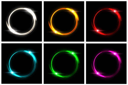 Glowing neon circles set. Silver, orange, red, blue, green, pink round electric light frames with sparkles on black background. Geometric fashion design vector illustration