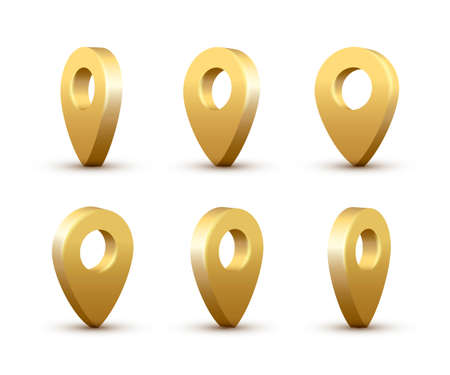 Shiny golden realistic map pins set. Vector 3d gold pointers isolated on white background. Location symbols in various angles