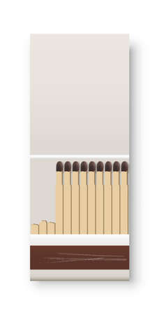 Open matchbox with matches. One box with heap of flammable matches. Kitchen house equipment vector illustration. Design of used package with scratches on white background