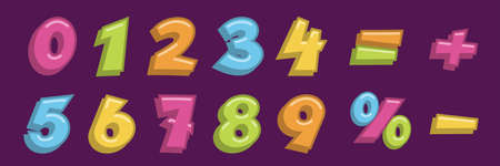 Math numbers and symbols set. Cute school mathematics elements for children vector illustration. Colorful numerical signs, minus, plus, equal, percentage on violet background