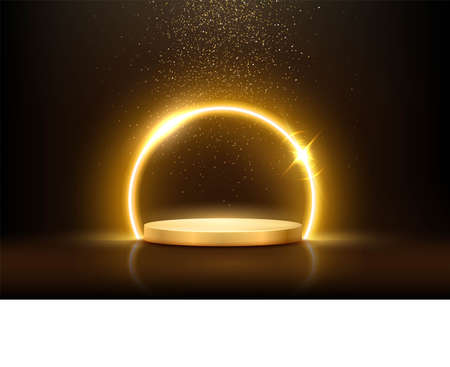 Glowing neon golden circle with sparkles in fog on gold podium. Abstract round electric light frame on dark background. Geometric fashion design vector illustration. Empty minimal ring art decoration Vettoriali