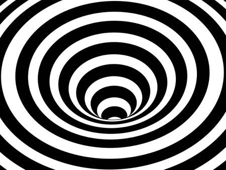 Striped crater on white background. Black stripes on modern circular geometric shape design vector illustration. Graphic optical illusion vortex effect