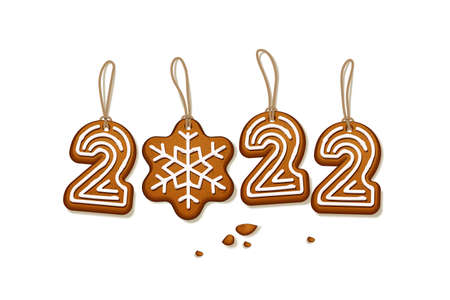 Gingerbread Christmas cookies number 2022. Xmas holiday sweet bread biscuits with sugary icing and strings vector illustration. Traditional winter decoration on white background
