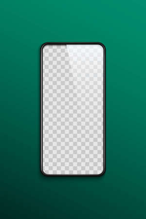 Phone transparent mockup on green background. Smartphone device frame vector illustration. Realistic blank front view template. Smart device frame, new technology presentation