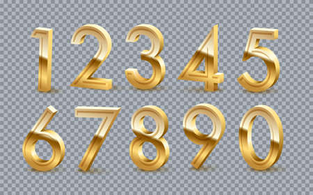 Golden numbers from zero to nine set on transparent background. Gold one, two, three, four, five, six, seven, eight vector illustration. Colourful numerical signs design for date or anniversary