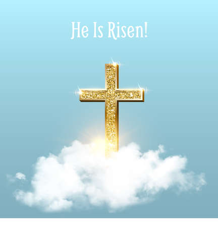 Church cross in heaven sky on Easter background. Christian golden crucifix symbol with clouds and sunbeams vector illustration. Sun shining, religious holiday celebration card with text 向量圖像