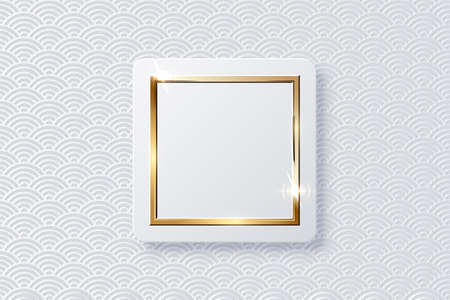 Realistic vector sparkling shiny glowing golden square on white button isolated on abstract chinese traditional oriental ornament pattern with wave. Rectangle frame with spark light effect. 向量圖像