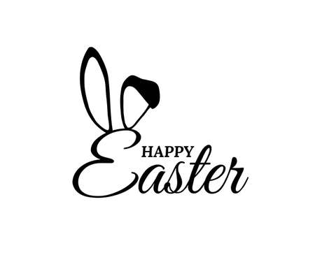 Easter bunny ears on holiday card with text. Rabbit costume mask with letters vector illustration. Cute party invitation on white background. Carnival spring festive decoration 向量圖像