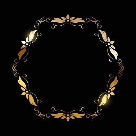 Gold flower pattern circle frame on black background. Round floral decorative golden ornament border vector illustration. Simple vintage card for wedding celebration invitation 向量圖像
