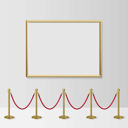 Golden frame for picture with gold stanchions barrier. Mock up template for famous painting vector illustration. Realistic scene with fence and wall indoor on white background 向量圖像