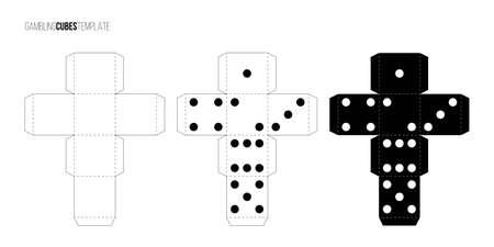 Cubes for gambling paper template set. Casino craps and playing games vector illustration. Poker cubes cutout black and white blueprints, numbers with dots isolated on white background