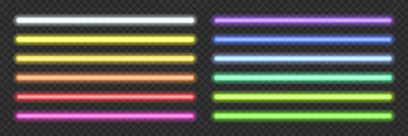 Neon light tubes set on transparent background. Blue, white, yellow, orange, green, pink, red led lines glowing vector illustration. Electric color pack design for party or clubs 向量圖像