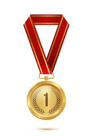 Gold medal with red ribbon. Champion golden trophy award with number one and laurel vector illustration. Prize in sport for winning first place in competition on white background
