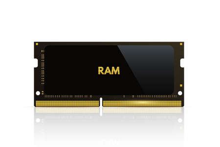 Ram memory chip. Computer processor part vector illustration. PC black electronic flash card with information on white background. Internal hardware technology with data storage 向量圖像