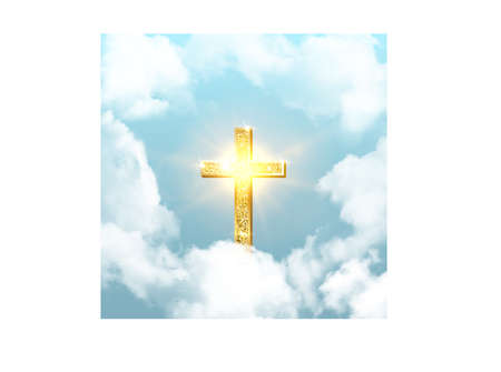 Church cross risen in heaven on Easter background. Christian golden crucifix symbol in sky with clouds and sunbeams vector illustration. Sun shining, religious holiday celebration