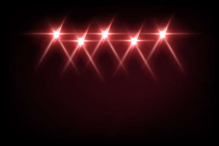 Red light from projectors on black background. Spotlight with beams effect on stage vector illustration. Abstract bright disco light at party or entertainment event, festival