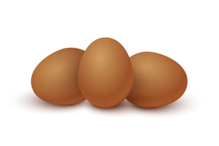 Three raw brown eggs set. Organic fresh food for breakfast vector illustration. Whole eggs ready for cooking and eating, yolk and protein inside, isolated on white background