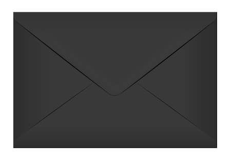 Black elegant envelope. Blank mail paper card mock up vector illustration. Realistic modern empty postcard template isolated on white background. Postal email document design