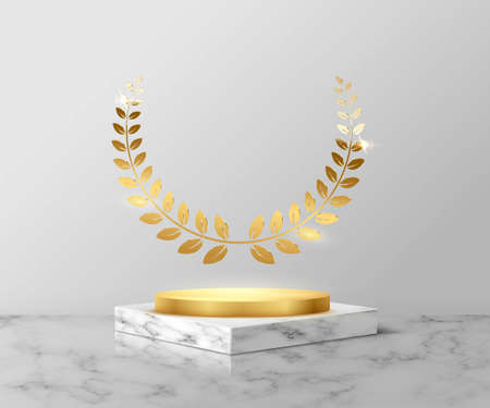Golden podium with laurel on gray marble square for product. 3d pedestal in stone pattern vector illustration. Geometric stage on floor in room. Abstract place for advertising or decoration