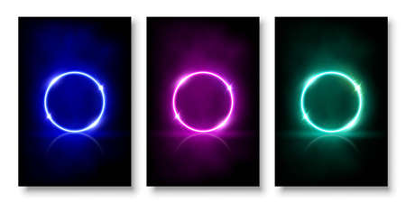Glowing neon circles with sparkles in fog abstract background set. Round electric light frames. Geometric fashion design vector illustration. Empty minimal blue, pink, green rings art decoration Иллюстрация