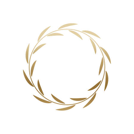 Golden laurel wreath round frame.
