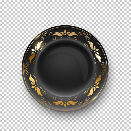 Black plate with golden floral pattern on border on transparent background. Empty dish for dinner, breakfast or lunch vector illustration. Clean dishware with decoration, above view