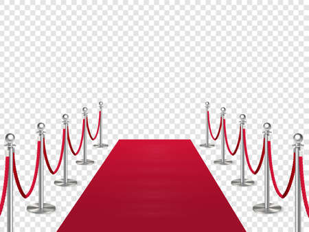 Red carpet with metal column guard isolated on transparent background. Entertainment, festival event, reward ceremony. Иллюстрация
