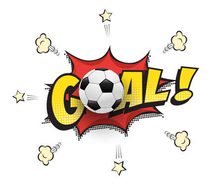 Goal word with football ball in cartoon or comic book style. Soccer match vector illustration.
