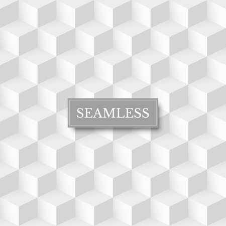 Seamless geometric cube background. 3d abstract white and grey design vector illustration. Retro style with mosaic structure effect. Modern wallpaper with dimensions in volume Иллюстрация