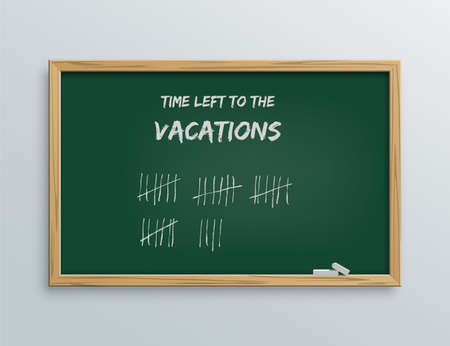 School blackboard with marks of time left to vacations. Board with crossed out lines for counting days with wooden frame vector. Education and ideas in handwriting on white background