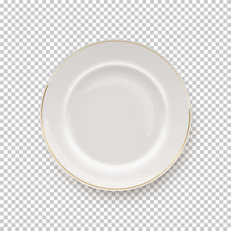 White plate with golden border on transparent background. Empty dish for dinner, breakfast or lunch vector illustration. Clean porcelain dishware with decoration, flat lay Иллюстрация
