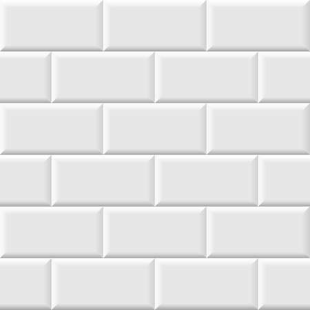 White metro tiles seamless background. Subway brick pattern for kitchen, bathroom or outdoor architecture vector illustration. Glossy building interior design tiled material