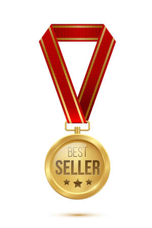 Gold medal with red ribbon for best seller. Professional golden trophy award with text and stars vector illustration. Prize for best sales in contest isolated on white background