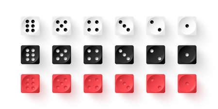 Red, black, white dice cubes for gambling set. Casino craps and playing games vector illustration. Poker cubes of different color, numbers with dots isolated on white background
