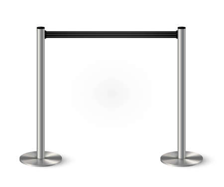Belt barrier with stanchions and black rope. Security control metal pole posts vector illustration. Airport entry rails, zone chrome dividers, vip barricade on white background
