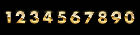 Golden numbers from zero to nine set on black background. Gold one, two, three, four, five, six, seven, eight, nine vector illustration. Colorful numerical signs design for date or anniversary Иллюстрация
