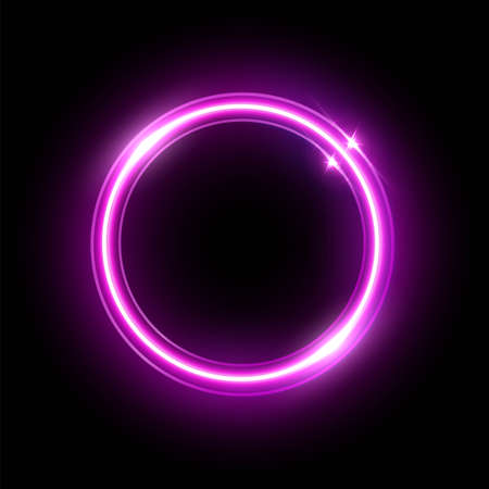 Pink neon round frame isolated on black background. Vector shiny violet electric border