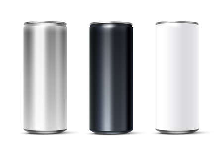 Blank white, silver, black beer or soda can set. 3d aluminium or tan mockup vector illustration.