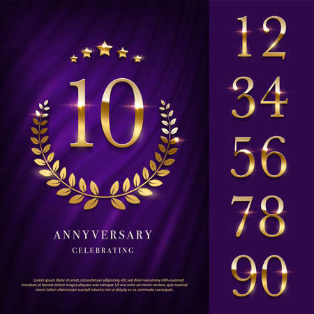 Anniversary icon with golden numbers template. 10th birthday, jubilee or wedding with laurel sign vector illustration. Invitation to celebrate. Shiny numbers on purple background.