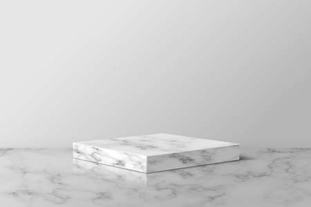 Gray marble square podium for product. 3d pedestal in stone pattern vector illustration. Geometric stage on floor in room. Abstract realistic place for advertising or decoration