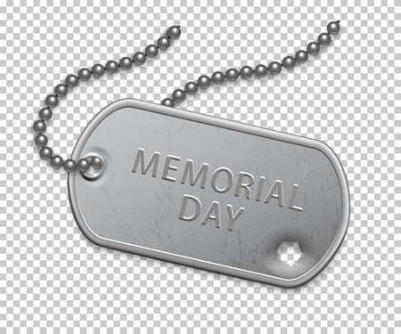 Happy Memorial day. Silver military badge on chain with bullet hole. United states patriotic element. Event holiday celebration. Greeting history honoring thankfulness vector poster. Иллюстрация