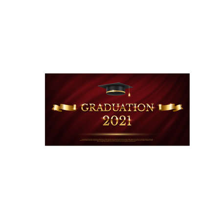 2021 graduation ceremony banner. Award concept with academic hat, golden ribbon and text on dark red curtain background. Иллюстрация