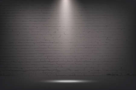 Grey brick wall with spotlight, stone background. Light from lamp on concrete texture vector illustration. Streetlight or stage for show in exhibition or museum wallpaper