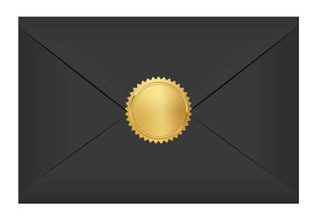 Black elegant envelope with gold stamp. Blank mail paper card mock up vector illustration. Realistic modern empty postcard template isolated on white background. Postal mail document with golden seal